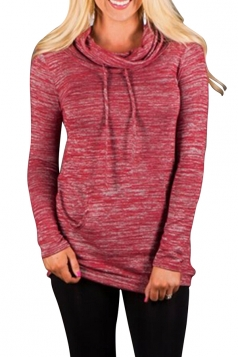 Womens Chic Drawstring Long Sleeve Cowl Neck Pullover Sweatshirt Red