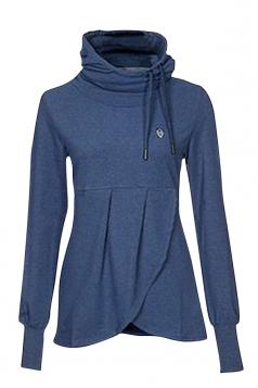 Womens Plain High Collar Irregular Funnel Pullover Sweatshirt Blue