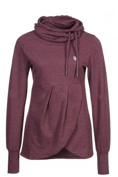 Womens Plain High Collar Irregular Funnel Pullover Sweatshirt Ruby