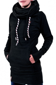 Womens Chic Long Sleeve Star Patch Thick Fleece Pullover Hoodie Black