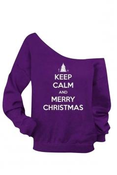 Womens Boat Neck Christmas Letter Printed Sweatshirt Purple