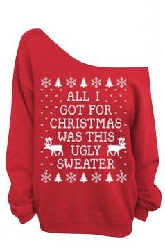 Womens Oblique Shoulder Letter Printed Ugly Christmas Sweatshirt Red