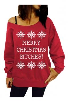 Womens Snowflake Printed Pullover Ugly Christmas Sweatshirt Red