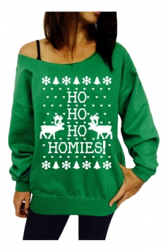 Womens Casual HO Printed Christmas Pullover Sweatshirt Green