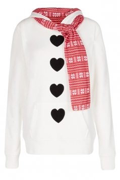 Womens Long Sleeve Peach Heart Print Christmas Hoodie With Scarf White