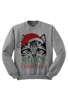 Womens Long Sleeve Crewneck Christmas Cat Print Lined Sweatshirt Gray