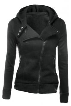 Womens Slim Plain Long Sleeve Lapel Oblique Zipper Hoodie Dark Gray