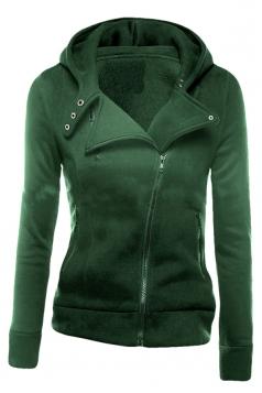 Womens Plain Long Sleeve Turndown Collar Oblique Zipper Hoodie Green