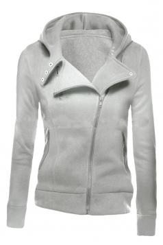 Womens Slim Plain Long Sleeve Lapel Oblique Zipper Hoodie Light Gray