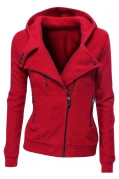 Womens Plain Long Sleeve Turndown Collar Oblique Zipper Hoodie Red