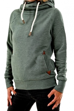 Womens Plain Long Sleeve Pocket Embroidery Pullover Hoodie Green