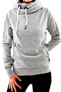 Womens Plain Long Sleeve Pocket Embroidery Pullover Hoodie Light Gray