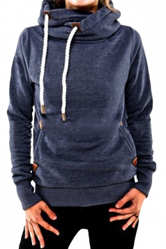 Womens Plain Long Sleeve Pocket Embroidery Pullover Hoodie Navy Blue