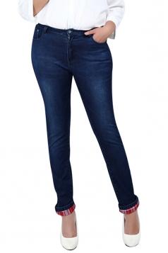 Womens Slimming Plus Size High Waist Plaid Spliced Denim Leggings Blue