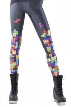 Womens Cool Tetris Printed Leggings Black