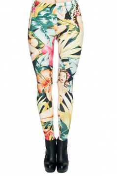 Womens Vintage Flower Printed Leggings Yellow
