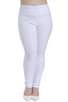 Womens Plus Size High Waisted Elastic Leggings White