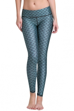 Womens Mermaid Scales Digital Print Yoga Sports Leggings Blue