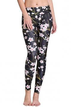 Womens Cherry Blossom Digital Print Yoga Sports Leggings Black