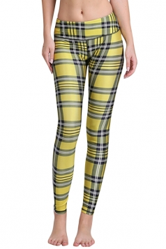 Womens Plaid Digital Printed Yoga Sports Leggings Yellow