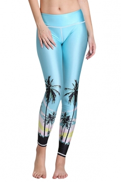 Womens Tree Style Digital Printed Yoga Sports Tight Leggings Blue