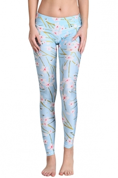 Womens Cherry Blossom Digital Print Yoga Sports Leggings Blue