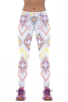 Womens Mid Waist Geometric Print High Elastic Fitness Leggings White