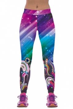 Womens Colorful Galaxy Pattern Digital Printed Fitness Leggings Purple