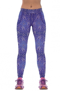 Womens Floral Print Jogging Yoga Perspiration Wicking Leggings Blue