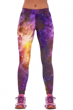 Womens Slimming Galaxy Space Print Hip Lift Up Elastic Leggings Purple