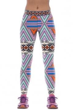 Womens Slimming High Elastic Geometric Print Package Hip Leggings Blue