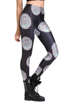 Womens Trendy Slimming Tiny Floral Print Elastic Leggings Black