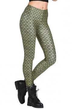 Womens Slim Fish Scales Printed High-Waisted Leggings Green