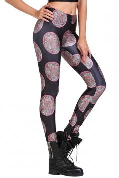 Womens Tiny Floral Print Slimming Elastic Waist Leggings Black