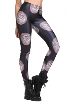 Womens Flower Print Slimming Elastic Waist Leggings Black