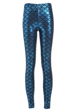 Womens Mermaid Fish Scales Print Shiny Ankle-length Leggings Blue