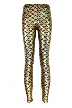 Womens Mermaid Fish Scales Print Shiny Ankle-length Leggings Gold