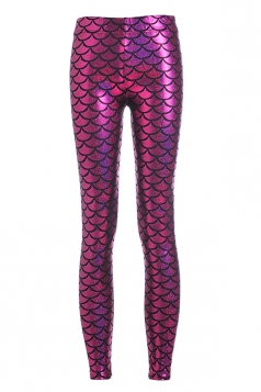 Womens Mermaid Fish Scales Print Shiny Ankle-length Leggings Rose Red
