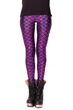 Womens Mermaid Fish Scales Print Shiny Ankle-length Leggings Purple