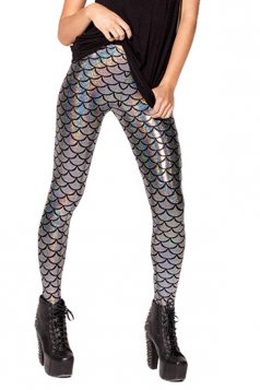 Womens Mermaid Fish Scales Print Shiny Ankle-length Leggings Silvery