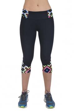 Womens Digital Print Patchwork Sport Capri Leggings Light Green