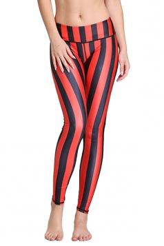 Womens Vertical Striped Digital Print Elastic Waist Tight Leggings Red