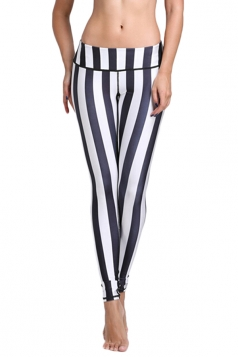Womens Vertical Striped 3D Print Elastic Waist Tight Leggings White