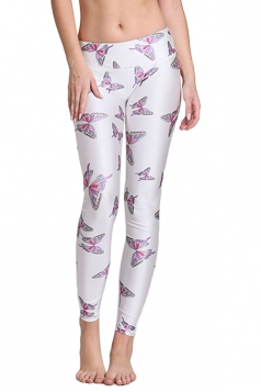Womens Butterfly Digital Print Elastic Waist Tight Leggings White