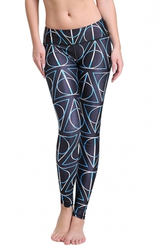 Womens Geometric Pattern Print Elastic Waist Tight Leggings Black