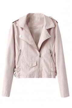 Womens Slim Plain Oblique Zipper Long Sleeve PU Leather Jacket Pink