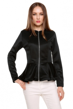 Womens Plain Round Neck Long Sleeve Zipper Ruffled Hem Jacket Black
