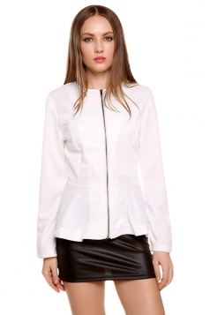 Womens Plain Round Neck Long Sleeve Zipper Ruffled Hem Jacket White