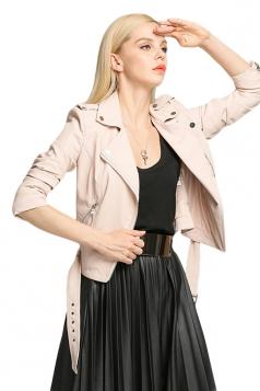 Womens Plain Long Sleeve Turndown Collar PU Leather Jacket Pink