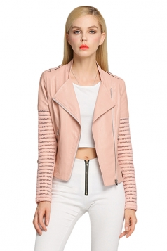 Womens Long Sleeve Lapel Hollow Out Spliced PU Leather Jacket Pink